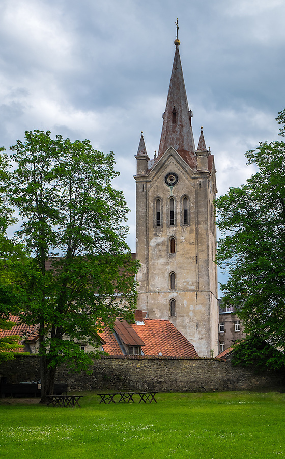 LATVIA, CESIS - CIRCA JUNE 2014: View of St. John's Church tower in Cesis