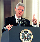United States President Bill Clinton makes a point during his press conference in the East Room of the White House in Washington, DC on 14 October, 1999.  In his prepared remarks, the President slammed the US Senate Republican leadership for forcing a vote against the Comprehensive Nuclear-Test-Ban Treaty and for fostering &quot;a new isolationism.&quot;  <br /> Credit: Ron Sachs / CNP