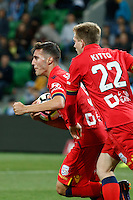 Melbourne, 28 October 2016 - SERGI GUARDIOLA (9) of Adelaide celebrates his goal in the round 4 match of the A-League between Melbourne City and Adelaide United at AAMI Park, Melbourne, Australia. Melbourne won 2-1 (Photo Sydney Low / sydlow.com)