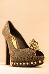 Alexander McQueen high heel with his trademark skull at Selfridges Womens Shoe Department, Marylebone, England, Europe