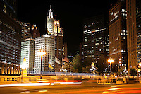 Chicago Wacker Drive at night with the Wrigley Building