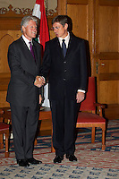 Former US president Bill Clinton meets Hungarian prime minister Ferenc Gyurcsany during his visits to Hungary at the Parlament. Budapest, Hungary. Saturday, 06. October 2007. ATTILA VOLGYI