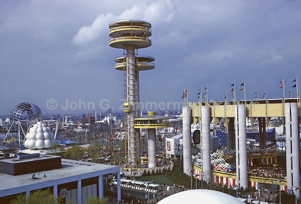 New York State Pavilion, 1964 World's Fair, Flushing Meadows, New York. The NY State Pavillion featured three observation towers, the tallest at 226 ft. High speed elevators carried visitors to the observation platform above. Photo by John G. Zimmerman.