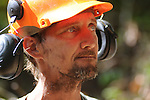 Scott Cornett is the main timber cutter for BPM Lumber Company at the logging site in Harlan County, Ky. Each team consists of four to five men that handle specific jobs on the logging site to make the process run as smothly as possible. All of the tree cutting is done with a hand held chainsaw and is the most dangerous job in the process.<br />