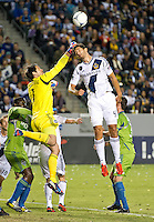 CARSON, CA - November 11, 2012: Seattle Sounders goalie Michael Gspurning (1) and LA Galaxy defender Omar Gonzalez (4) during the LA Galaxy vs the Seattle Sounders at the Home Depot Center in Carson, California. Final score LA Galaxy 3, Seattle Sounders 0.