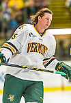 29 December 2014: University of Vermont Catamount Defenseman Nick Luukko, a Senior from West Chester, PA, prepares to face the Providence College Friars in the deciding game of the annual TD Bank-Sheraton Catamount Cup Tournament at Gutterson Fieldhouse in Burlington, Vermont. The Friars shut out the Catamounts 3-0 to win the 2014 Cup. Mandatory Credit: Ed Wolfstein Photo *** RAW (NEF) Image File Available ***