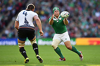 Richardt Strauss of Ireland receives the ball. Rugby World Cup Pool D match between Ireland and Romania on September 27, 2015 at Wembley Stadium in London, England. Photo by: Patrick Khachfe / Onside Images