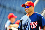 22 April 2010: Washington Nationals' catcher Ivan Rodriguez awaits his turn in the batting cage prior to a game against the Colorado Rockies at Nationals Park in Washington, DC. The Nationals were shut out by the Rockies 2-0 to close out their series with a 2-2 game split. Mandatory Credit: Ed Wolfstein Photo