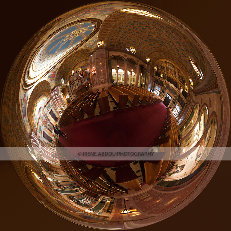 """360 degree stereographic """"my world"""" panorama made from 59 individual images of the Cathedral of St. Matthew in Washington, DC.  Named after Saint Matthew the Apostle, the patron saint of civil servants, the Cathedral of St. Matthew the Apostle in Washington, DC is the seat of the Archbishop of Washington.  Built in 1893 and designed by the notable New York architect, C. Grant La Farge, the cathedral boasts an exquisitely beautiful interior."""