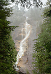 Canada, BC, Squamish. Shannon Falls during a snowstorm.