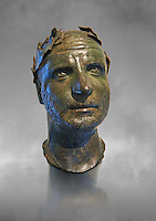 Bronze head of possibly Trebonianus Gallus, 251-253 A.D., inv 15032, Vatican Museum Rome, Italy, grey art background