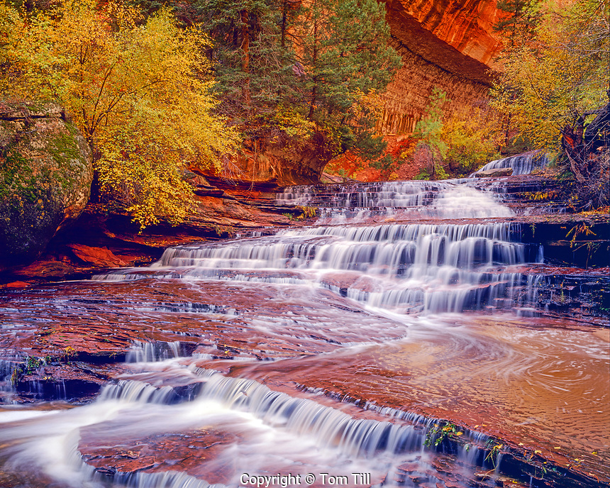 Archangel Cascades, North Fork of Virgin River, Zion National Park, Utah, Near the Subway, afternoon, November