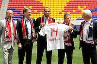 Major League Soccer Commissioner Don Garber, Head of Red Bull Global Soccer Dietmar Beiersdorfer, Thierry Henry, New York Red Bulls sporting director/GM Erik Soler, and head coach Hans Backe during photo opportunity prio to a New York Red Bulls press conference at Red Bull Arena in Harrison, NJ, on July 15, 2010.
