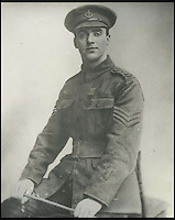 BNPS.co.uk (01202 558833)<br /> Pic: DixNoonanWebb/BNPS<br /> <br /> A photograph of George Sanders.<br /> <br /> A Victoria Cross awarded to a hero British soldier on the first day of the Somme is being sold by his family for &pound;220,000 over 100 years later.<br /> <br /> Corporal George Sanders led a band of 30 men in repelling repeated German attacks over two days after a communications break down left them cut off in an enemy trench.<br /> <br /> For nearly two days without any food or water, he drove off a raid by the enemy which required hand-to-hand combat using bayonets and then stood firm against two strong bombing attacks.<br /> <br /> His Victoria Cross and Military Cross have been passed down through the family and are now to be sold for the very first time at London auctioneers Dix Noonan Webb.