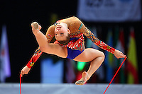 Melitina Staniouta of Belarus stag leaps with rope at 2009 World Cup at Portimao, Portugal on April 19, 2009.  (Photo by Tom Theobald).