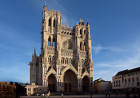 AMIENS, PICARDIE, FRANCE - FEBRUARY 02 : A general view of the western facade of the cathedral Notre Dame (cathedral of Our Lady) on February 02, 2008 in Amiens, Somme, Picardie, France. The cathedral was built in the 13th century. (Photo by Manuel Cohen)