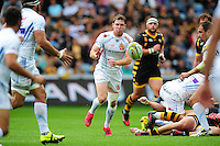 Will Chudley of Exeter Chiefs passes the ball. Aviva Premiership match, between Wasps and Exeter Chiefs on September 4, 2016 at the Ricoh Arena in Coventry, England. Photo by: Patrick Khachfe / JMP