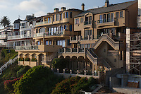 Inspiration Point is just south/east of Corona Del Mar State Beach in Newport Beach, CA.  This is a view of the houses north/west of Inspiratin point, which overlook the beach and have private staircases going down to it..