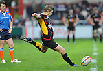 Jason Tovey attempt a penalty kick. Gloucester V Newport Gwent Dragons, EDF Energy Cup  © Ian Cook IJC Photography iancook@ijcphotography.co.uk www.ijcphotography.co.uk