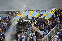 Philadelphia Union fans celebrate a goal. The Philadelphia Union defeated Toronto FC 2-1 on a second half stoppage time goal during a Major League Soccer (MLS) match at PPL Park in Chester, PA, on July 17, 2010.