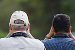 Gary Clark and Willy Alfaro, birdwatchers from behind with binocular straps showing, Savegre Mountain Lodge, Costa Rica,
