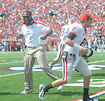 The Georgia bench celebrates a touchdown at Vaught-Hemingway Stadium in Oxford, Miss. on Saturday, September 24, 2011. Georgia won 27-13.