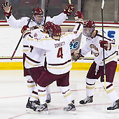 Brendan Silk (BC - 9), Bill Arnold (BC - 24), Teddy Doherty (BC - 4), Kevin Hayes (BC - 12) - The Boston College Eagles defeated the visiting Boston University Terriers 5-2 on Saturday, December 1, 2012, at Kelley Rink in Conte Forum in Chestnut Hill, Massachusetts.