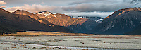 Sunrise over Waimakariri River flats and Southern Alps, Arthur's Pass National Park, South Westland, South Island, New Zealand, NZ