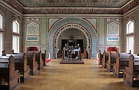 Inside Sarajevo Synagogue, or the Ashkenazi Synagogue, built 1902 by Karel Parik in Neo Moorish style on the banks of the river Miljacka, Sarajevo, Bosnia and Herzegovina. Ashkenazi Jews arrived in Sarajevo with the Austro-Hungarian Empire in the late 19th century. The building is a National Monument. Picture by Manuel Cohen