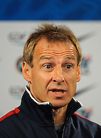 Jurgen Klinsmann, coach of team USA, reacts during the press conference after the friendly match France against USA at the Stade de France in Paris, France on November 11th, 2011.