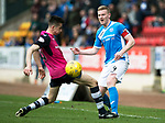 St Johnstone v Dundee&hellip;11.03.17     SPFL    McDiarmid Park<br />Brian Easton is tackled by Cammy Kerr<br />Picture by Graeme Hart.<br />Copyright Perthshire Picture Agency<br />Tel: 01738 623350  Mobile: 07990 594431