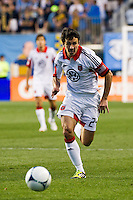 Lewis Neal (24) of DC United. DC United defeated Philadelphia Union 1-0 during a Major League Soccer (MLS) match at PPL Park in Chester, PA, on June 16, 2012.