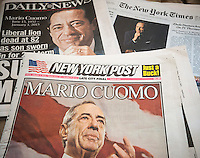 National and local newspapers in New York on Friday, January 2, 2015 report on previous days death of former New York State Gov. Mario Cuomo at the age of 82. Cuomo served as governor for three terms from 1983-1994. His son, current Gov. Andrew Cuomo, was sworn in for his second term on the same day the elder Cuomo died. (© Richard B. Levine)