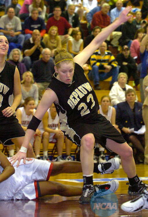 17 MAR 2007:  DePauw's Liz Bondi (23) drives against Washington University during the Division III Women's Basketball Championship held at Blake Arena on the campus of Springfield College in Springfield, MA.  DePauw won the championship 55-52. Suzanne Ouellette/NCAA Photos