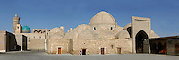 Panoramic view of Toki-Zargaron Bazaar, or Jeweller's Bazaar, 1570, Bukhara, Uzbekistan, pictured on July 9, 2010 in the morning. Toki-Zargaron is the largest of the remaining domed Bazaars originating in the 16th-17th century trading boom along the Silk Road. Here gold, coral and precious metals were traded. Bukhara, a city on the Silk Route is about 2500 years old. Its long history is displayed both through the impressive monuments and the overall town planning and architecture. Picture by Manuel Cohen.