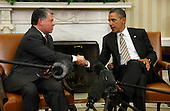 United States President Barack Obama (R) and King Abdullah II of Jordan shake hands after delivering remarks to the news media following a meeting in the Oval Office at the White House January 17, 2012 in Washington, DC. Sensing a vaccum in peace negotiations left by Egypt's former President Hosni Mubarak, Abdullah talked with Obama about attempts to restart peace talks between Israel and the Palestinians. .Credit: Chip Somodevilla / Pool via CNP