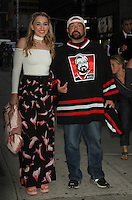 NEW YORK, NY-August 25:  Harley Quinn Smith, Kevin Smith at the Late Show with Stephen Colbert to talk about new movie Yoga Hosers in New York. August 25, 2016. Credit:RW/MediaPunch