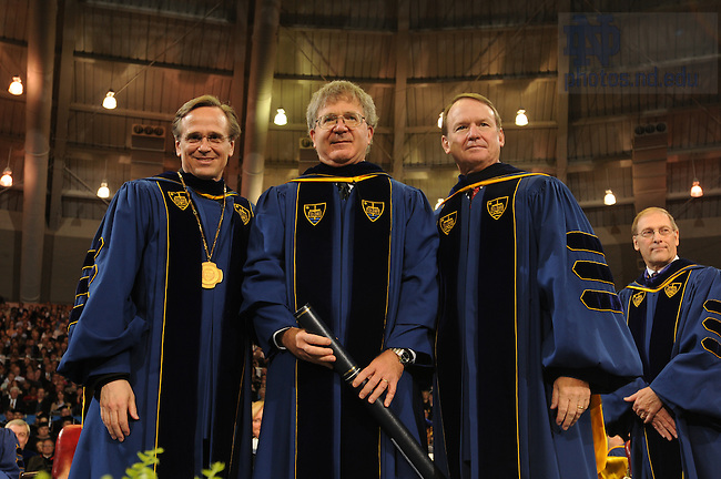 Judge Michael W. McConnell receives an honorary degree from the University of Notre Dame at the 2008 Commencement ceremony.