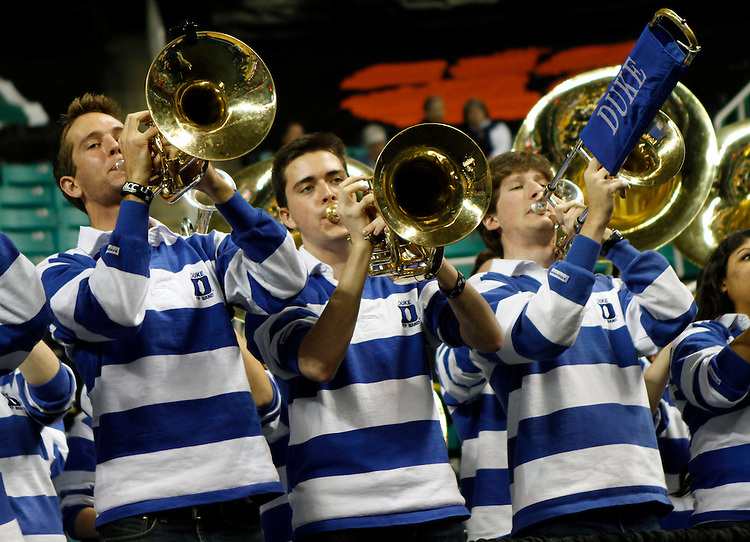 The Duke pep band pumps up the crowd in the second half ...