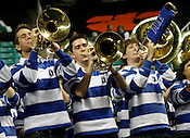 The Duke pep band pumps up the crowd in the second half. NC State defeated Duke 75-73 during quarter finals of the 2012 ACC Women's Basketball Tournament at the Greensboro Coliseum in Greensboro, NC. Photo by Al Drago.