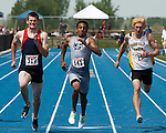 At the finish line (L to R: Jacob Jardine, Dante Carter, Ian Middleton) during the 4A Idaho Track and Field Championships 200 meter dash on May 19, 2012 at Middleton High School, Middleton, Idaho. Carter finished first (22.47) followed by Jardine (22.55) and Middleton (22.67).