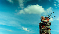 Chimney Stack with Television Aerials on House - Jul 2014.