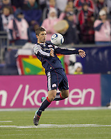 New England Revolution defender Chris Tierney (8) traps the ball. The New England Revolution defeated Kansas City Wizards, 1-0, at Gillette Stadium on October 16, 2010.