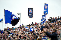 A general view of supporters in the Dyson Stand celebrating a penalty. Aviva Premiership match, between Bath Rugby and Exeter Chiefs on October 17, 2015 at the Recreation Ground in Bath, England. Photo by: Patrick Khachfe / Onside Images