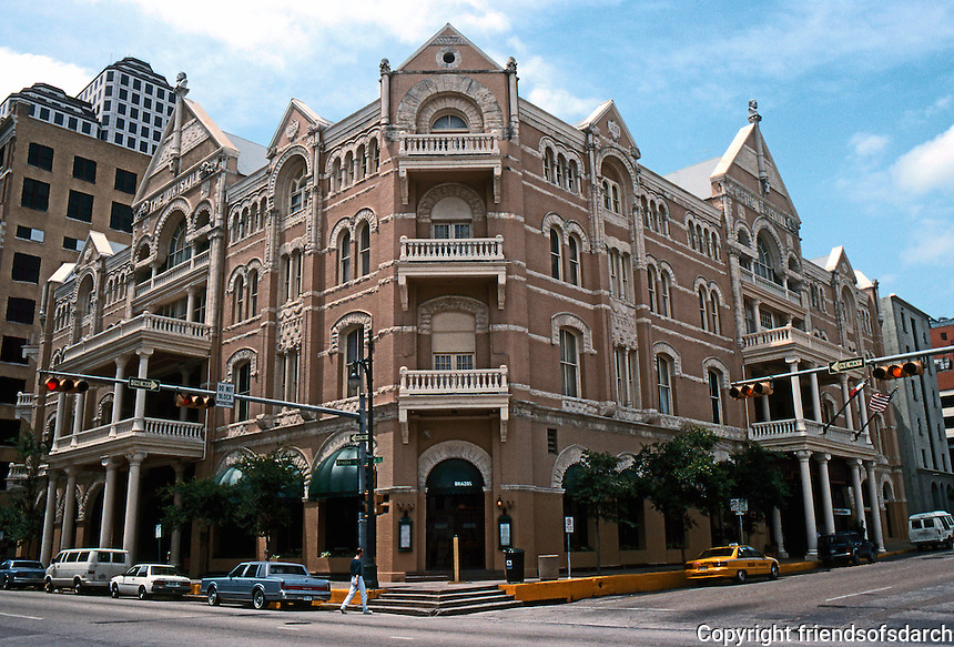 Austin:  The Driskill Hotel, 1885. Taken from SE corner, 6th (E-W) and Brazos (N-S).