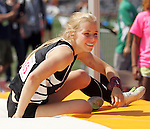 Abby Wieler smiles while getting up off the pad after clearing the bar at the 2A Washington State Track and Field Event's Girl's 2A Pole Vault held at Mount Tahoma Stadium in Tacoma, Washington May 29 2015.  She placed 2nd. Jim Bryant for The Daily News