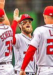 3 April 2017: Washington Nationals outfielder Bryce Harper celebrates the first win of the season against the Miami Marlins on Opening Day at Nationals Park in Washington, DC. The Nationals defeated the Marlins 4-2 to open the 2017 MLB Season. Mandatory Credit: Ed Wolfstein Photo *** RAW (NEF) Image File Available ***