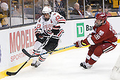 Chris Donovan (NU - 23), Chris Huxley (Harvard - 28) - The Northeastern University Huskies defeated the Harvard University Crimson 4-1 (EN) on Monday, February 8, 2010, at the TD Garden in Boston, Massachusetts, in the 2010 Beanpot consolation game.