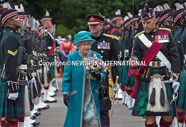 01.07.2014; London: QUEEN ELIZABETH ATTENDS CEREMONY OF THE KEYS<br /> on the forecourt of the Palace of Holyroodhouse, her official residence in Scotland.<br /> The event welcomes Her Majesty to  Edinburgh for this year&rsquo;s Royal Week.<br /> Picture shows: Her Majesty The Queen inspecting the soldiers from the Royal Regiment of Scotland during the Ceremony of the Keys, who formed The Guard of Honour during the Ceremony of the Keys at Hollyroodhouse.<br /> Mandatory Credit Photo: &copy;Crown Copyright/NEWSPIX INTERNATIONAL<br /> <br /> **ALL FEES PAYABLE TO: &quot;NEWSPIX INTERNATIONAL&quot;**<br /> <br /> IMMEDIATE CONFIRMATION OF USAGE REQUIRED:<br /> Newspix International, 31 Chinnery Hill, Bishop's Stortford, ENGLAND CM23 3PS<br /> Tel:+441279 324672  ; Fax: +441279656877<br /> Mobile:  07775681153<br /> e-mail: info@newspixinternational.co.uk