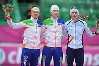 SCHAATSEN: HAMAR: Vikingskipet, 11-01-2014, Essent ISU European Championship Allround, podium 5000m Men, Douwe de Vries (NED), Jan Blokhuijsen (NED), Bart Swings (BEL), ©foto Martin de Jong